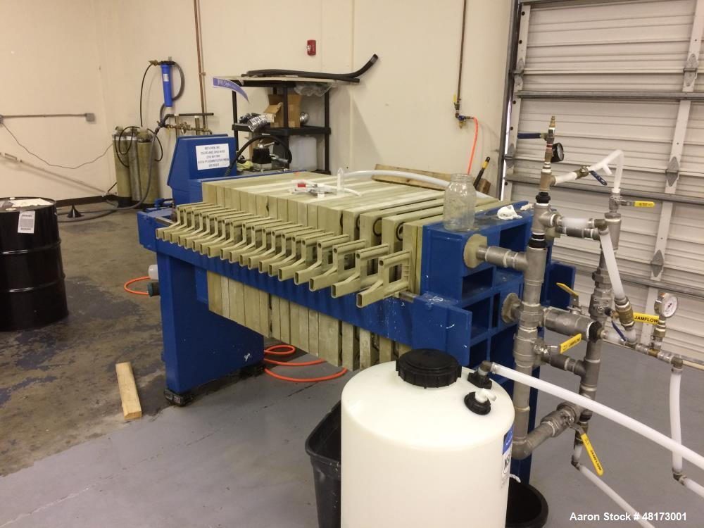 Used- Hoesch Industries Filter Press, Model 134D. 5.5 cubic feet. (19) 630mm gasketed plates 32mm cake thickness automatic h...