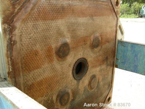 """USED: JWI filter press, model 1000-15/25. Carbon steel frame. (18) 39"""" x 39"""" polypropylene plates, 1/2"""" recess per side. (1)..."""