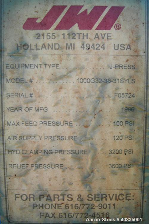 """Used- JWI Filter Press, Model 1000G32-38-31SYLS. (38) 39 1/2"""" x 39 1/2"""" polypropylene plates, approximately 1"""" cake. Approxi..."""