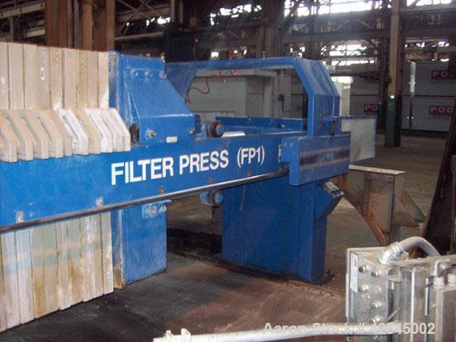 Used-JWI Filter Press, 30 cubic feet, expandable to 50 cubic feet. Model 1200mm G32-20-41-25/50 SNL5. Curently has 29 gasket...