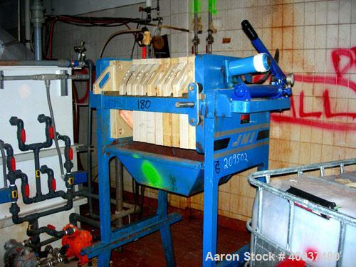"Used: JWI filter press, model 470G30-6-1-NA. (10) 18"" X 18"" X 2 1/2"" thick x 1/2"" recess polyproplene plates, (1) head, (1) ..."