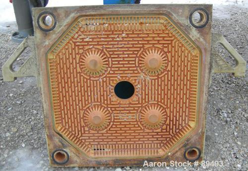 "USED: JWI filter press, model 630G32-20-27-6-8SYLS. (22) 630 mm x 630 mm (24.8"" x 24.8"") gasketed polypropylene plates, appr..."