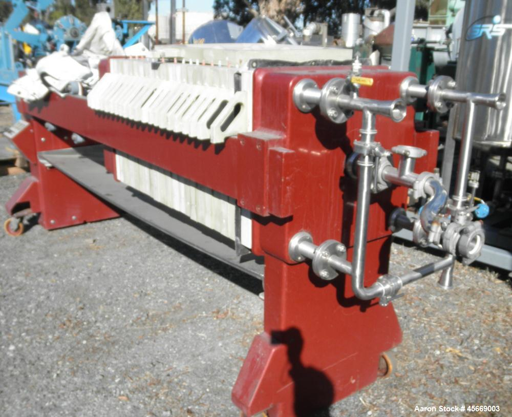 """Used- JWI Filter Press, includes (20) 24"""" x 24"""" (630mm) recessed polypropylene"""