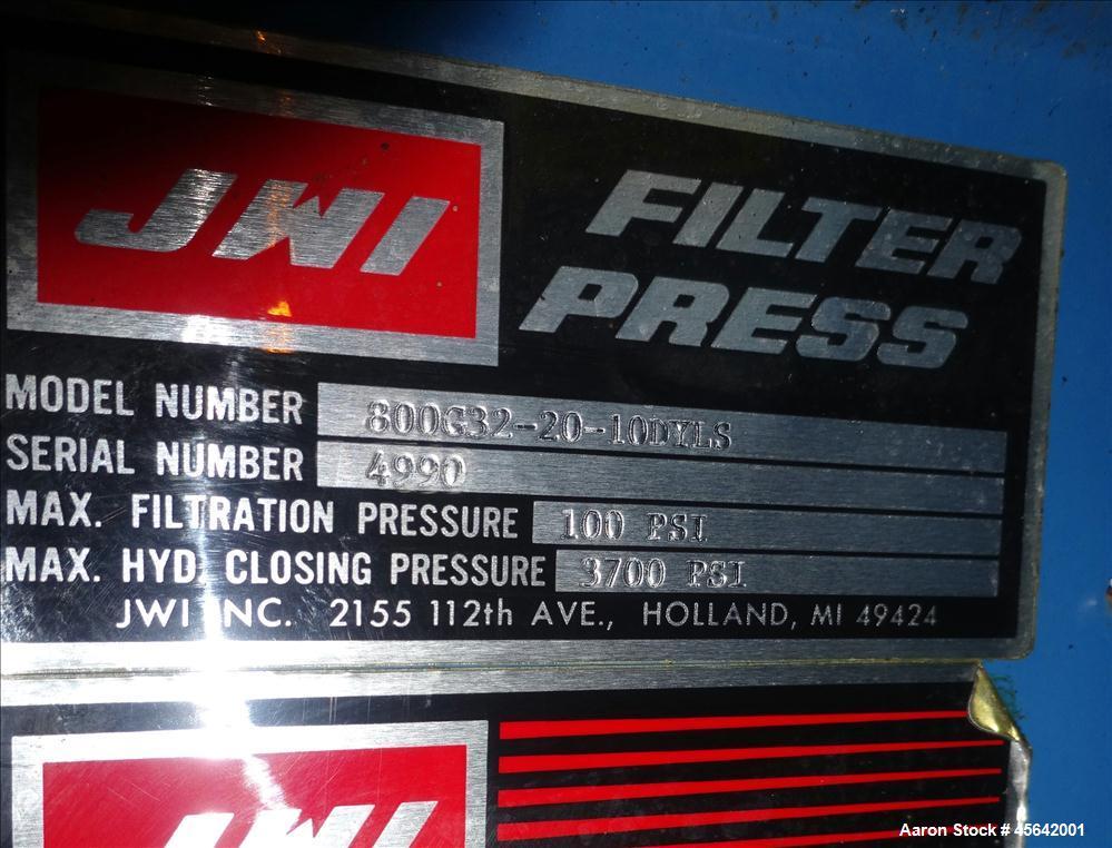 Used- JWI Filter Press, Type J, Model 800G32-20-10DYLS.