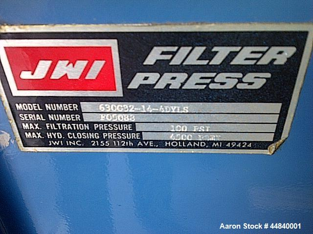 Used JWI Filter Press, Model J Press, 630G32-14-4DYLS, (14) polypropylene recess plates. Caulked and gasketed. Approx. 5 ft3...