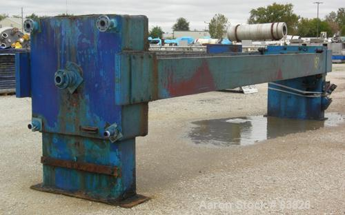 "USED: JWI filter press, carbon steel frame. (83) 48"" x 48"" polypropylene plates, approx 1300 square feet filter area, approx..."