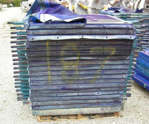 """USED: JWI filter press, carbon steel frame. (83) 48"""" x 48"""" polypropylene plates, approx 1300 square feet filter area, approx..."""