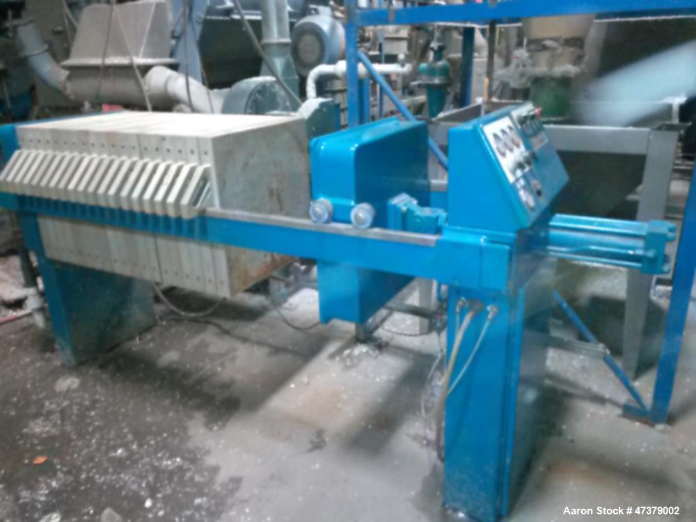 Used- JWI Filter Press. 5 cubic foot / 630 ML. Automatic. Approximately 16 polyprop plates. With 50 GPM diaphragm pump and a...