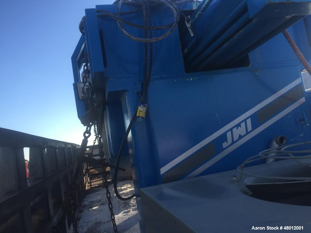 Used- JWI 51 Cubic Foott Filter Press. Center feed, 4 corner return. Air over hydraulic operated. 45- 1200 mm poly plates, g...