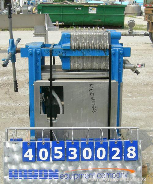 "Used- Plate and Frame Filter Press, 316 stainless steel. (7) 11""  X 11""  x 5/8"" thick plates, (7) 11"" x 11"" 1"" thick frames,..."