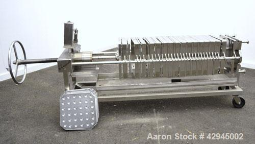 "Used- Plate & Frame Filter Press. (16) 15"" x 15"", 316 stainless steel plates, 2-7/8'' thick, (14) 316 stainless steel frames..."