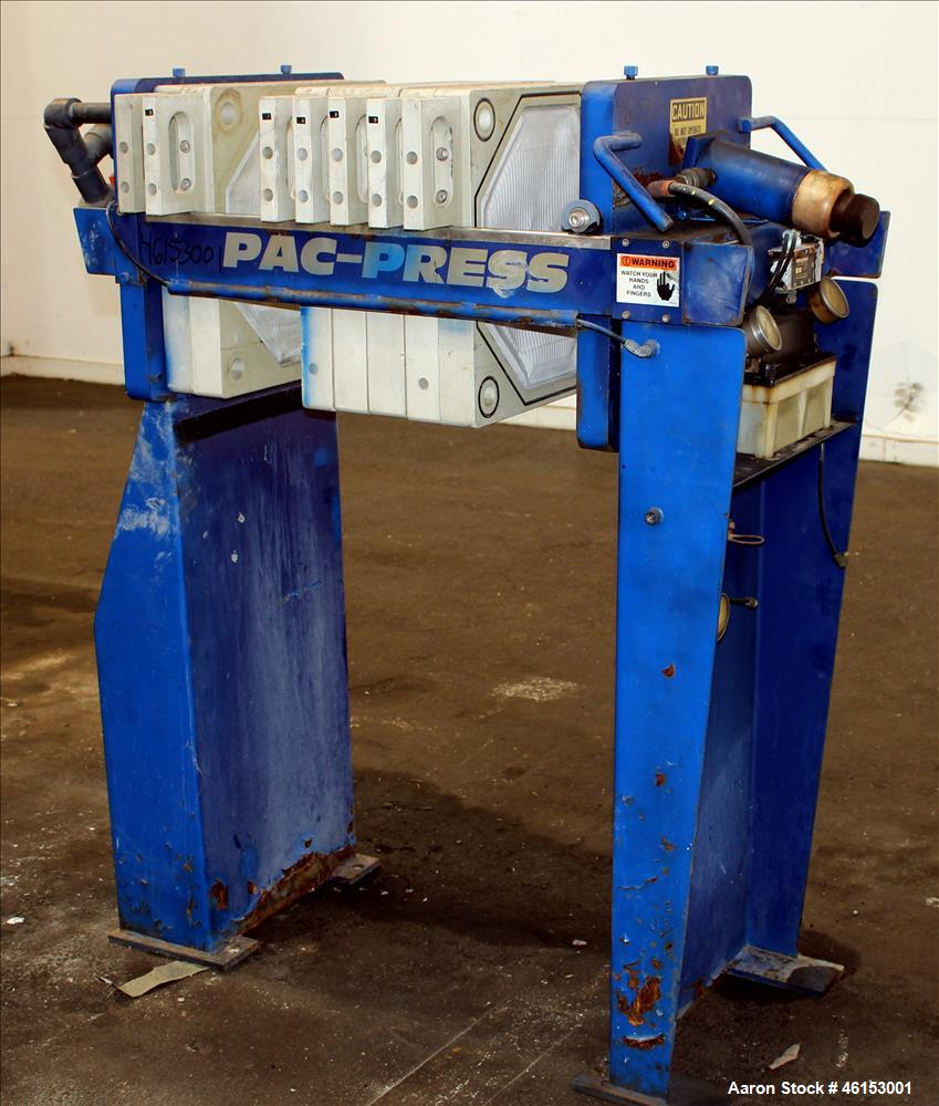 Used- Pacific Press Pac-Press Filter Press, Model PAC-470G-1SP2, Carbon Steel. 18.2 Square feet surface area, 1 cubic foot c...
