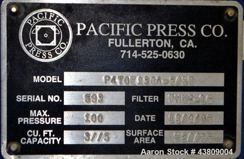 Used- Pacific Press Filter Press Skeleton Only, Model P470E138A-3/5R. Requires 470mm plates. Maximum filter area 52-86 squar...