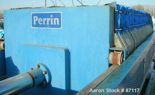"USED: Perrin filter press, model 100-48. (44) 48"" x 48"" polypropylene chambers, approximate 1/2"" deep. Total filter area 117..."