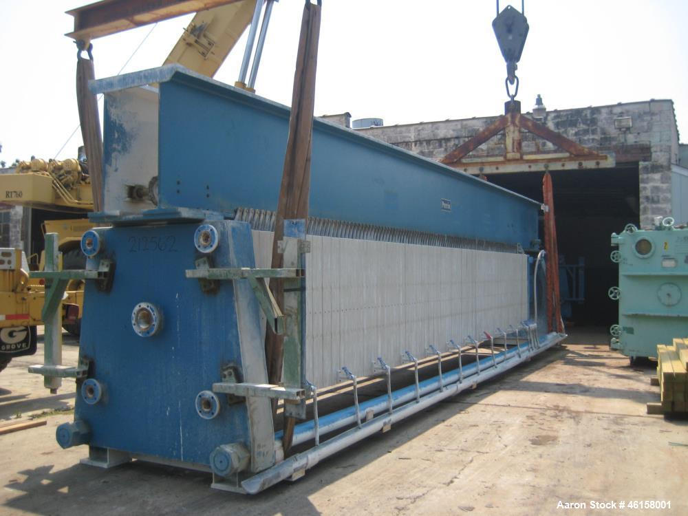 Used- Perrin Overhead Filter Press with Plate Shifter, Model 200-S-48. 225 Psi operating pressure, ambient operating tempera...
