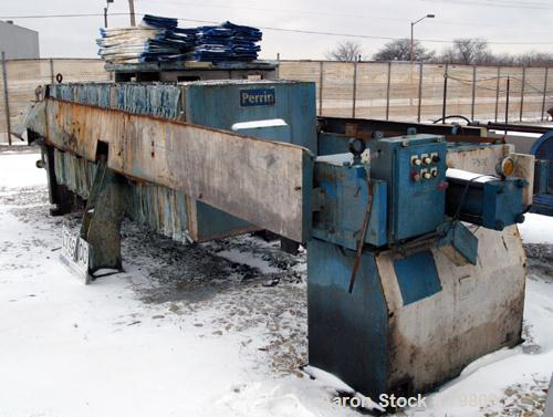 """USED: Perrin plate and frame filter press, model 215-FL-51, cast iron frame. (48) 48"""" x 48"""" polypropylene plates, 1 end plat..."""