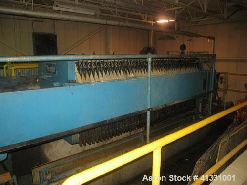 Used-Perrin 1000 mm Filter Press. Press consists of 45 polypropylene filter plates. Top center feed, 4 corner discharge. 1-3...