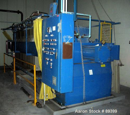 "USED: Perrin filter press, (50) 59"" x 59"" polypropylene plates, approximate 1"" cake. Approximate 82.69 cubic feet cake capac..."