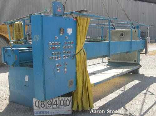 """USED: Perrin filter press, (52) 59"""" x 59"""" polypropylene plates, approximate 1"""" cake. Approximate 86 cubic feet cake capacity..."""