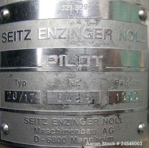 "Used- Seitz Enzinger Noll Pilot Polishing Press, Type 20/17. (18) 7"" x 7"" 316 stainless steel plates, approximately 1/2"" thi..."