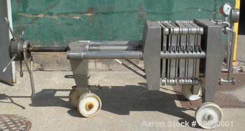 """Used- Seitz Filter Press, Type 40/30-A4. (4) 15"""" x 15"""" 316 stainless steel plates and (3) 15"""" x 15"""" x 1-1/2"""" thick, 316 stai..."""