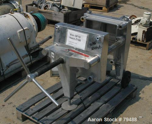 USED: Seitz Orion filter press, type 15. 316 stainless steel. Skeleton frame (ONLY) . Top feed, approximate 27 total plate c...