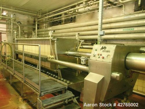 Used-Seitz Orion Filter Press, type OF 100/150. 9,260 gallon/hour (350 HL/hour) filtration capacity. Material of constructio...