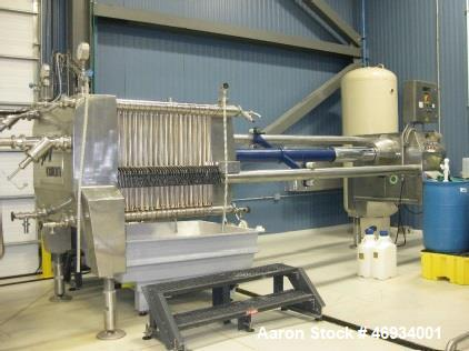 Used- Seitz Orion 100 Frame and Plate Filter, Model OF 100 V. Chassis Size: 100, Kieselguhr filtration (Folding Sheets): Max...