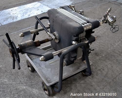 Used- Seitz-Werke Filter Press, Type Z. Stainless steel plates, carbon steel frame with casters.