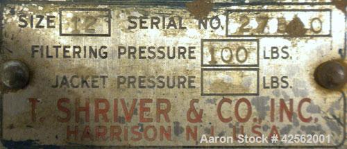 """Used- T. Shriver Filter Press, Size 12. (11) 12"""" x 12"""" Carbon steel plates, approximate 1"""" cake. Approximate 9.24 square fee..."""