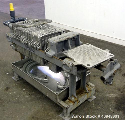 "Used- T. Shriver Filter Press, Size 12, 316 Stainless Steel.  (12) 12"" x 12"" x 1"" thick frames, (14) 12"" x 12"" x 1/2"" thick ..."