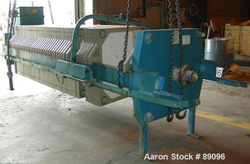 "USED: Eimco Shriver filter press, model M1000FB. Carbon steel frame. (40) 39.3"" x 39.3"" x approximately 2-1/2"" thick x appro..."