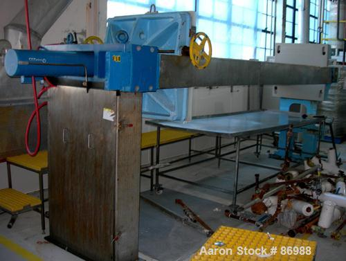 """Used- Shriver filter press, carbon steel frame. 36"""" x 36"""" polypropylene, approximately 51 plates 1"""" thick, and 50 frames 1-1..."""