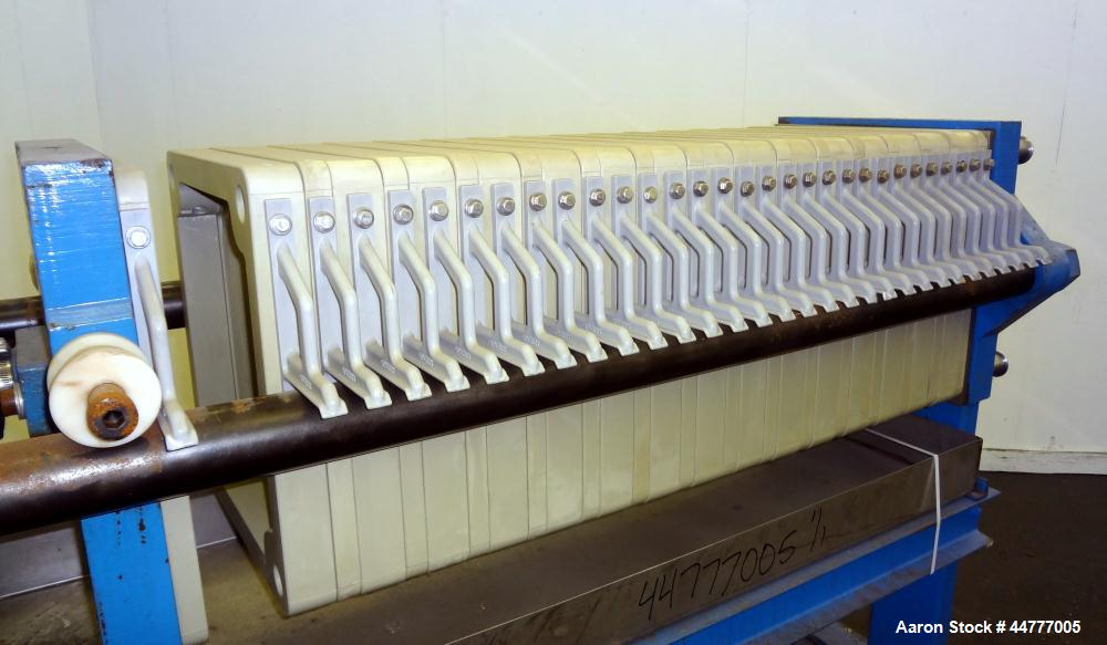 "Used- Sperry Plate & Frame Filter Press, Size 18, Type 47-48-49. (15) 15"" x 15"" polypropylene plates, (16) 15"" x 15"" x 2"" th..."