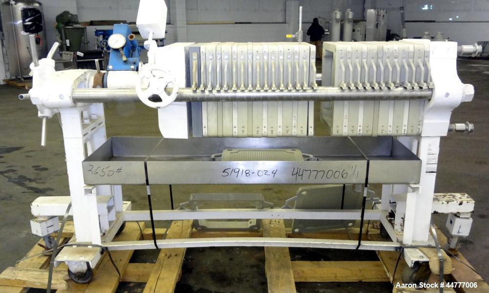 "Used- Sperry Plate & Frame Filter Press, Size 18, Type 47-48-49.  (14) 15"" x 15"" Polypropylene plates, (14) 15"" x 15"" x 2"" t..."