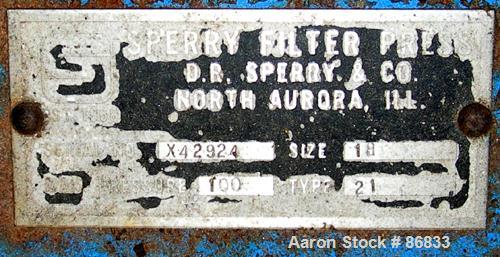 """USED: Sperry plate and frame filter press, type 21, size 18, carbon steel frame. (10) 18"""" x 18"""" polypropylene plates, (10) 1..."""