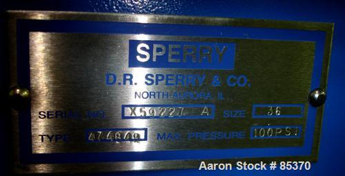 """USED: Sperry filter press, carbon steel frame. 36"""" x 36"""" polypropylene. Approx 51 plates 1"""" thick and 50 frames 1-1/4"""" thick..."""