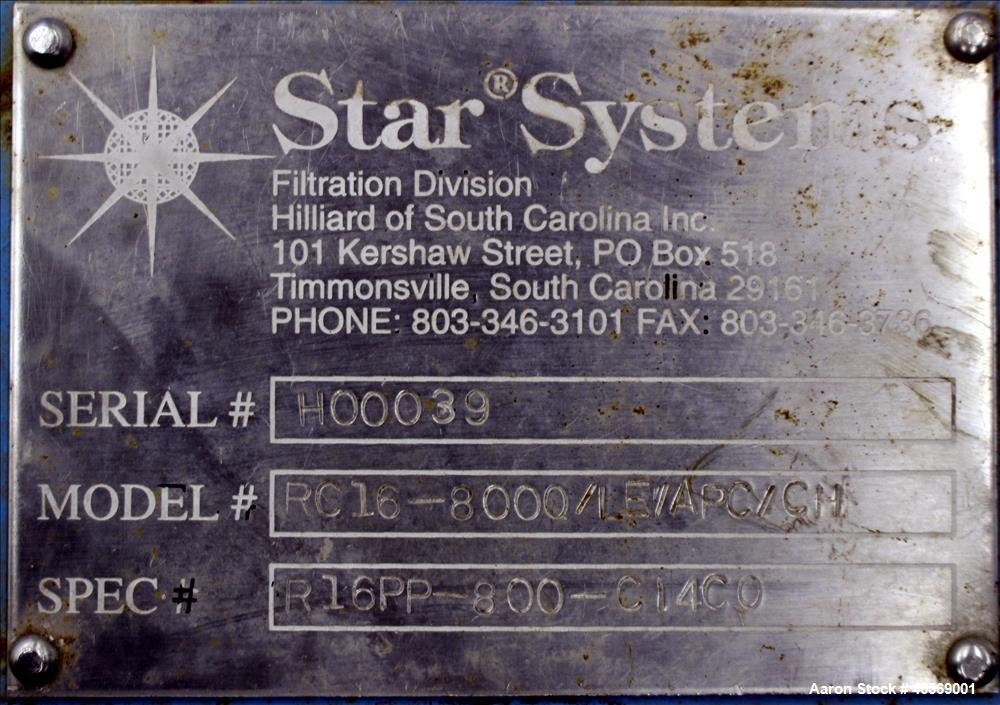 Used- Star Systems Filter Press, Model RC16-800Q/LE/APC/CH, Carbon Steel. Approximate 172 square feet filter area, 8 cubic f...