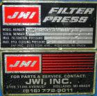 Used- JWI Filter Press, Model 630G32-10/13-3/4SYLS. (25) 24.8'' x 24.8'' x 2-1/2'' Thick x 1/2'' recess polypropylene plates...