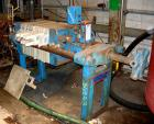USED: Sperry plate and frame filter press, type 21, size 18, carbon steel frame. (10) 18