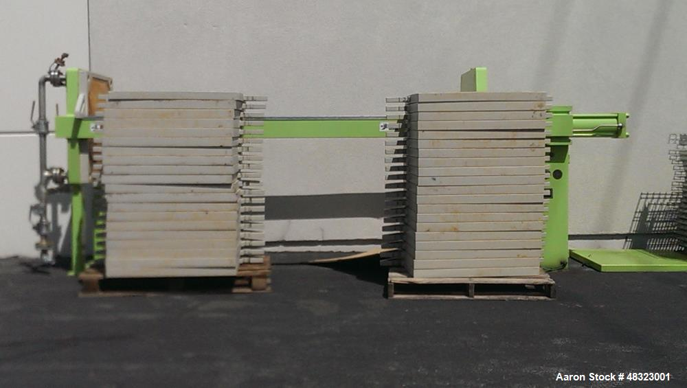Used- U.S. Filter / JWI Filter J Press, Model 800G32-39-20DNLW. (40) 800 mm x 800 mm polypropylene plates. Approximate filte...
