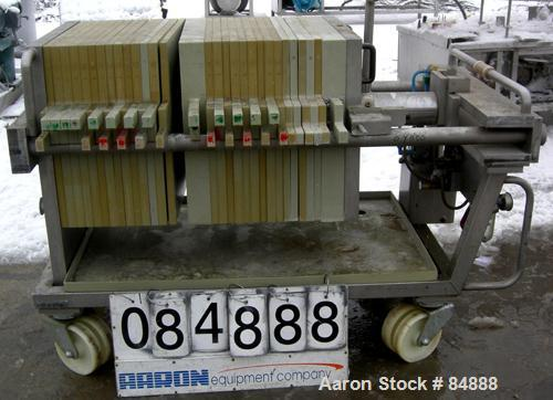 """USED: Von Roll plate and frame filter press, type HV3-D-630/7. 16 polypropylene plates 24"""" (610mm) x 24"""" (610mm) and 12 poly..."""