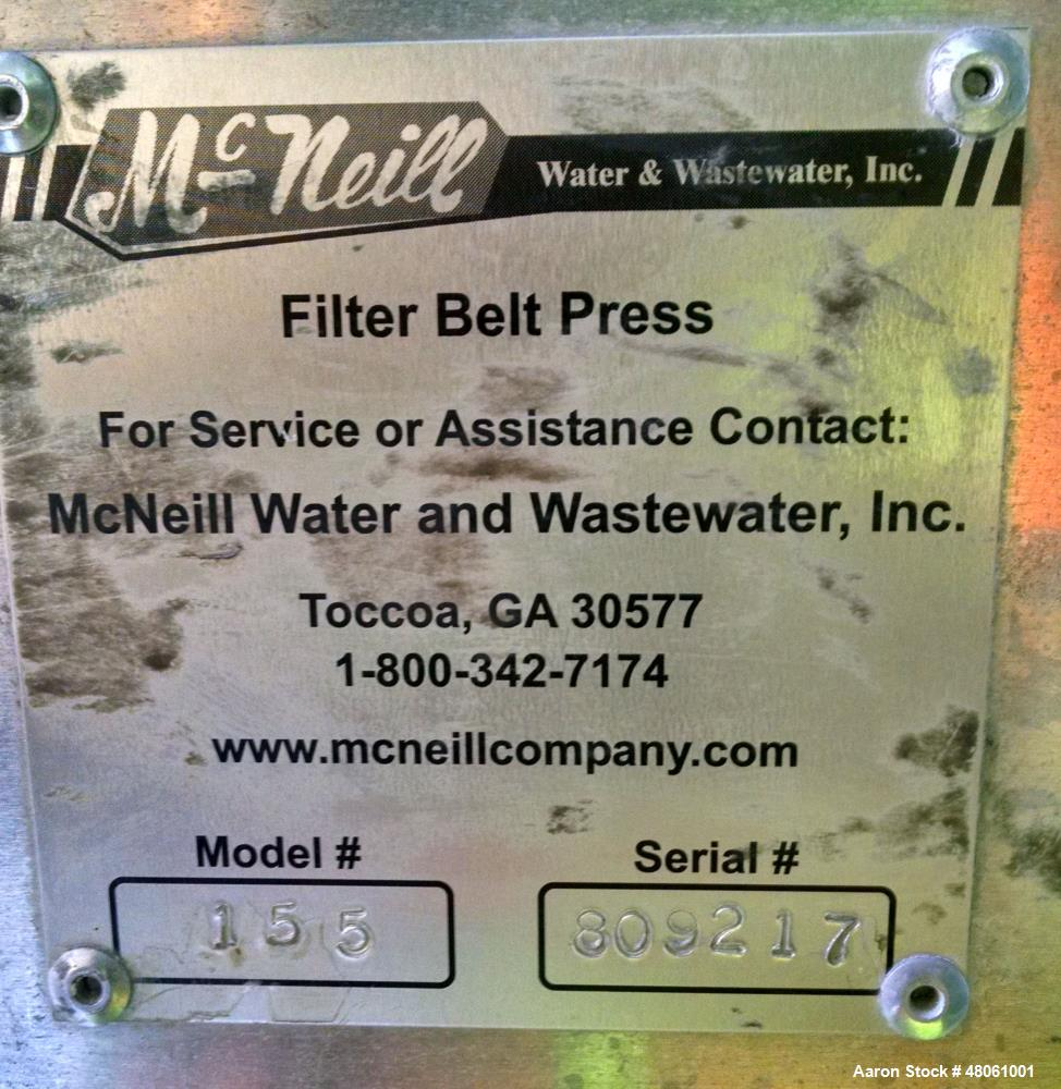 "Used- McNeill 1.5 Meter Heavy Duty Belt Press, Model 155. Belt is 58"" wide x 535"" long. Includes: stainless steel scraper bl..."