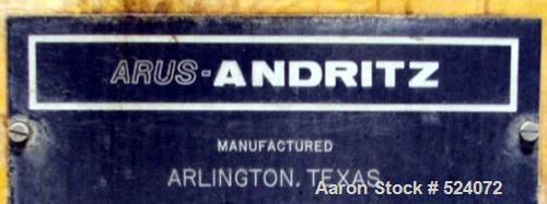 USED: Arus-Andritz belt filter press, 2 meter. Carbon steel frame,fiberglass hood.