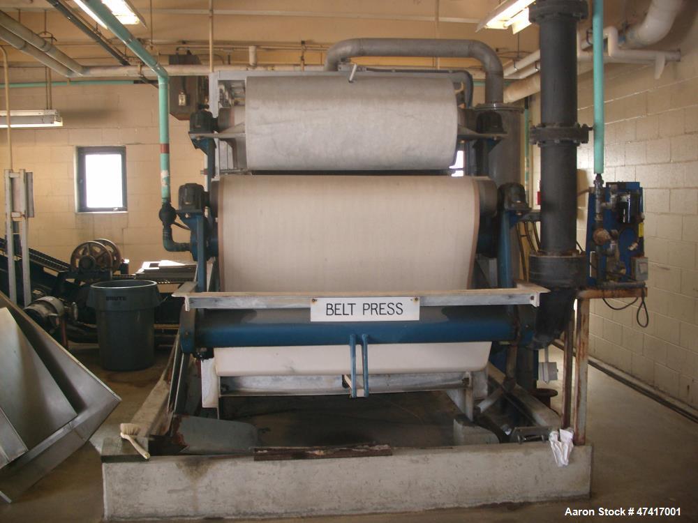 Used- Ashbrook Simon Hartley Belt Filter Press. 1 Meter Belt, 0-80 gpm, MK II Klampress. Includes polymer system, conveyor, ...