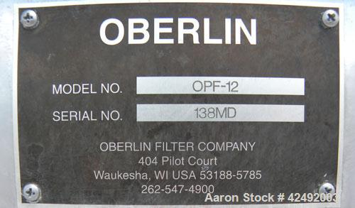 "Used- Oberlin Automatic Pressure Filter, Model OPF-12, Carbon Steel. 12 Square feet filter area. Approximate press area 36"" ..."