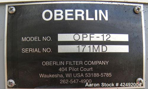 """Used- Oberlin Automatic Pressure Filter, Model OPF-12, Carbon Steel. 12 Square feet filter area. Approximate press area 36"""" ..."""