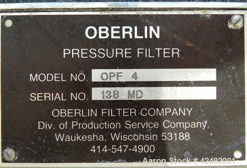 "Used- Oberlin Automatic Pressure Filter, Model OPF 4 Carbon Steel. 4 Square feet filter area. Approximate press area 24"" x 2..."