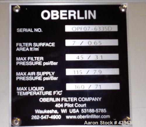 Unused- Oberlin Automatic Pressure Filter, Model OPF-07, 304 Stainless Steel and Carbon Steel Construction.  7 Square feet f...