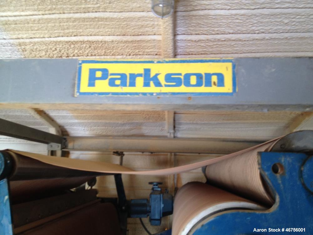 Used- Parkson Belt Filter, 2.0 Meter area. Polymer feed, wash water booster pump and control panel. Stainless steel frame.